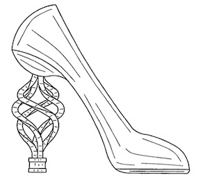 "From Design Patent No. D730,634, titled ""Spiraled heeled shoe,"" issued June 2, 2015."
