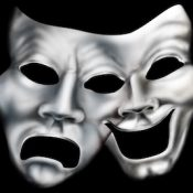 Laughing, crying theater masks