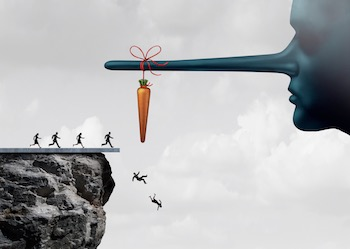Running towards a carrot tied to a Pinocchio nose, falling off a cliff