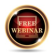 Free webinar icon. internet button on white background.