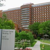 National Institutes of Health - Clinical Center (building #10) south entrance. Bethesda, Maryland USA. Photo by Christopher Ziemnowicz.