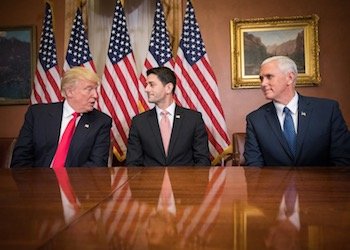 President Elect Donald Trump with Speaker Paul Ryan and Vice President Elect Mike Pence.