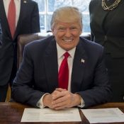 """@POTUS Twitter Picture, February 24, 2017. """"This afternoon I signed an executive order to establish task forces that will help scrap job-killing regulations on American businesses."""""""