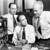 (L to R) John Bardeen, William Shockley and Walter Brattain. Picture by AT&T. Public domain.