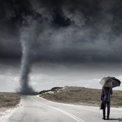 Tornado and Businessman