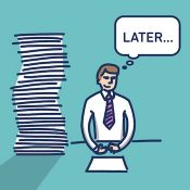 Procrastination businessman which delay his work for later | simply modern flat design colorful cartoon icon isolated on green background