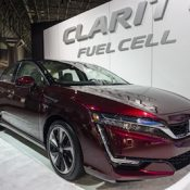 Honda Clarity fuel cell vehicle on display during the New York International Auto Show at the Jacob Javits Center.