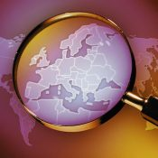 Magnifying glass on Europe https://depositphotos.com/178219262/stock-photo-magnifying-glass-europe-digitally-generated.html