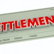 Settlement Check Agreement Payout Word 3d Illustration