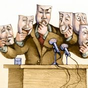a politician speaks to the public with a set of masks